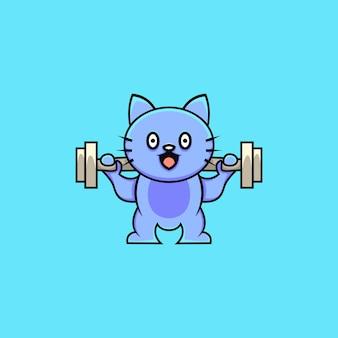 Ilustração de gato fofo levantando peso estilo cartoon