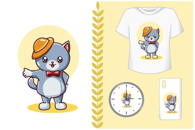 , ilustração de gato fofo usando chapéu amarelo