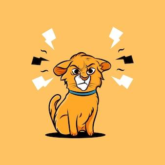 Ilustração de gato fofo zangado