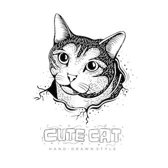 Ilustração de gato fofo