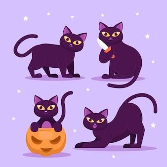 Ilustração de gato liso do dia das bruxas