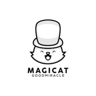 Ilustração de gato mágico de estilo desenho animado