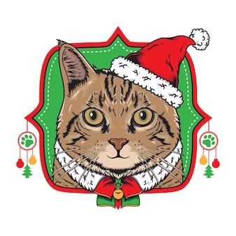 Ilustração de gato natal com chapéu de papai noel