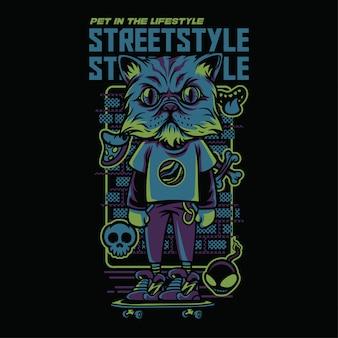 Ilustração de gato persa de estilo de rua