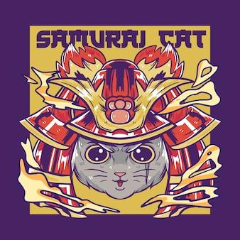 Ilustração de gato samurai fofo