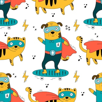 Ilustração de gatos e cachorros fofos em fantasias de super-heróis