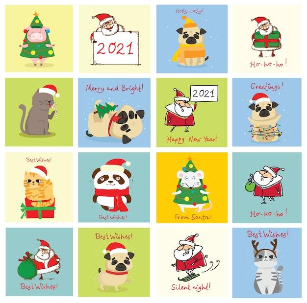 Ilustração de gatos, porcos, ratos e cães de natal com cumprimentos de natal e ano novo. bichinhos fofos com chapéus de férias e presentes.