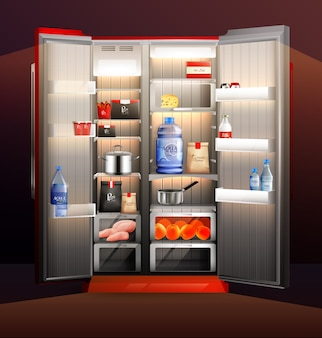 Ilustração de geladeira aberta brilhante