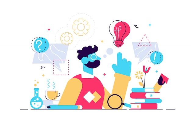 Ilustração de gênio. conceito de mente plana pequenas pessoas científicas inteligentes. desenvolvimento de fórmulas abstratas e imaginação. pensamento de sabedoria e processo de engenharia. brainstorm e pesquisa em física