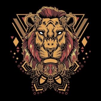 Ilustração de geometria sagrada de leão legal