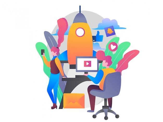 Ilustração de gerenciamento de mídia social