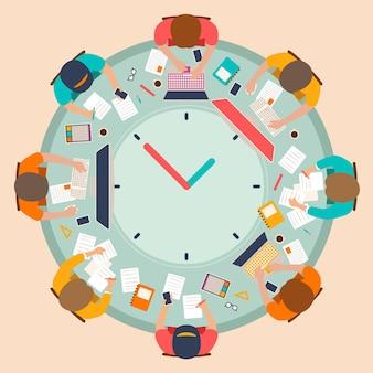 Ilustração de gerenciamento de tempo desenhada à mão plana
