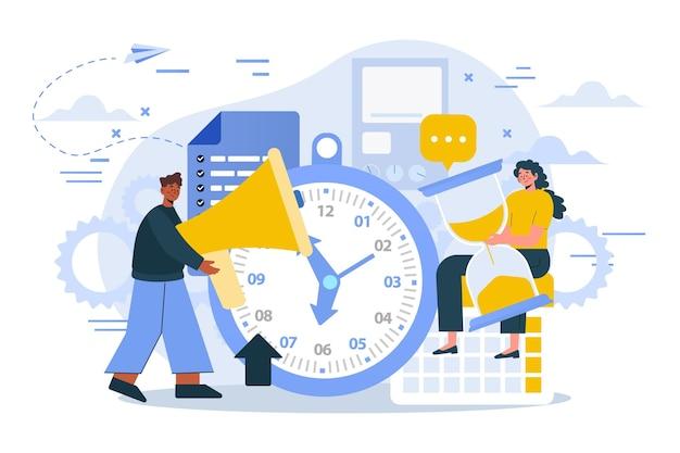 Ilustração de gerenciamento de tempo desenhada à mão