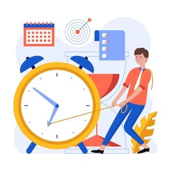 Ilustração de gerenciamento de tempo plano