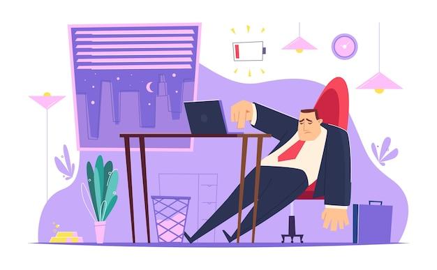 Ilustração de gerente cansado preguiçoso