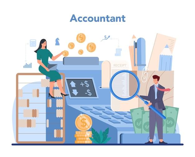 Ilustração de gerente de escritório de contabilidade