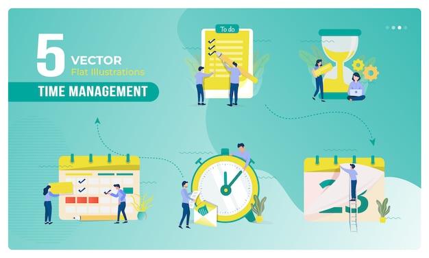 Ilustração de gestão de negócios e tempo no conjunto de coleta
