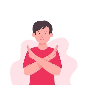 Ilustração de gestos de crianças recusadas e rejeitadas