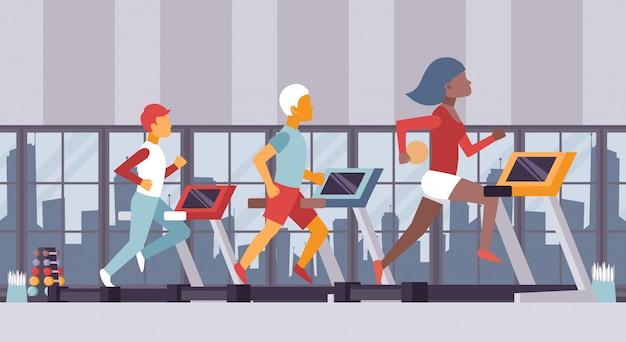 Ilustração de ginásio de fitness, pessoas correndo no centro de esporte de esteiras, aula de cardio