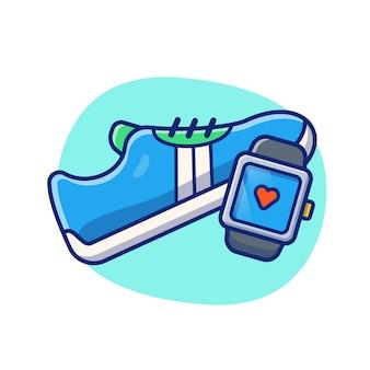 Ilustração de ginásio e fitness. tênis de corrida e freqüência cardíaca relógio inteligente. ginásio conceito branco isolado