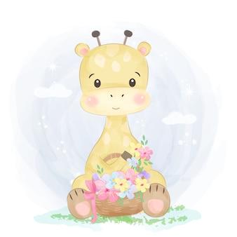 Ilustração de girafa bebê fofo