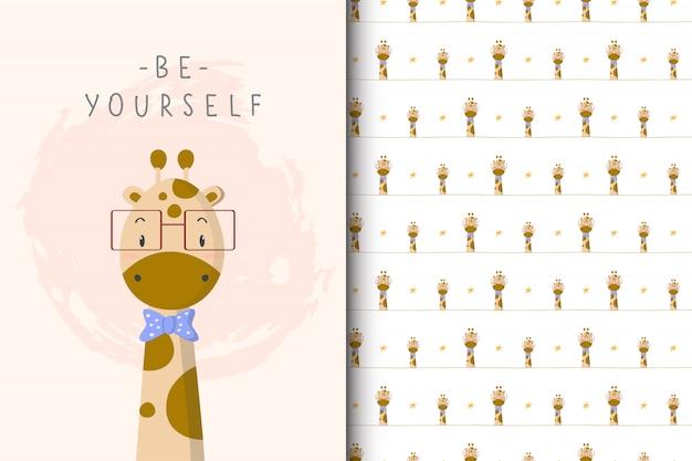 Ilustração de girafa bonitinha com padrão sem emenda no fundo branco