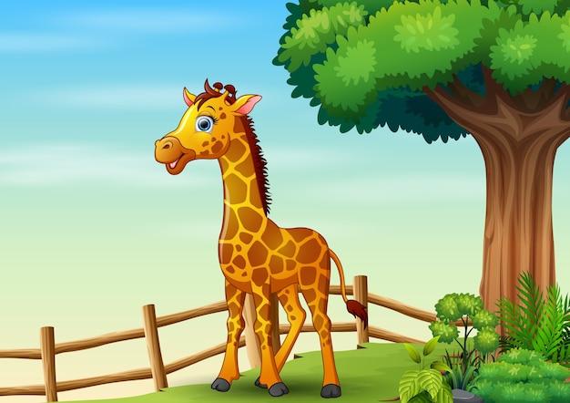 Ilustração de girafa feliz dentro da gaiola