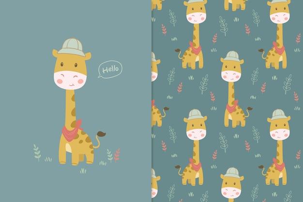 Ilustração de girafa no padrão jugle