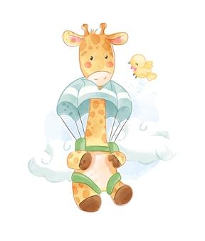 Ilustração de girafa no paraquedas e passarinho