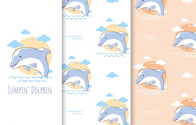 Ilustração de giro pequeno golfinho, cartão e padrão sem emenda.