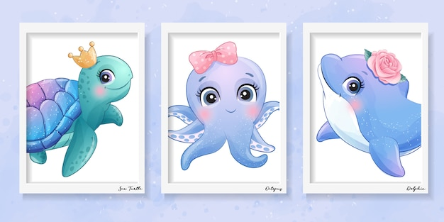 Ilustração de giro pequeno tartaruga marinha, polvo e golfinho