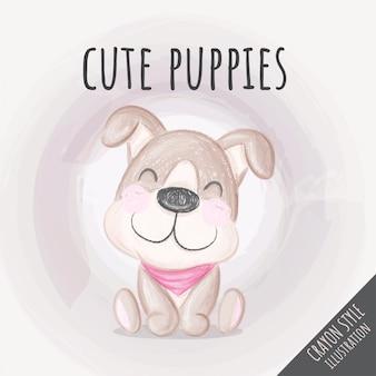 Ilustração de giz de cera bonito filhote de cachorro para crianças