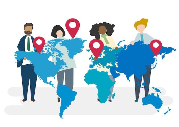 Ilustração, de, global, negócio, conceito