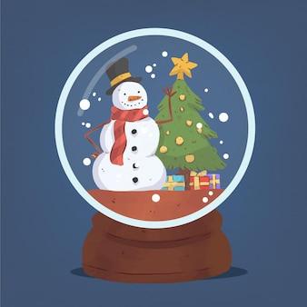 Ilustração de globo de bola de neve de natal em aquarela