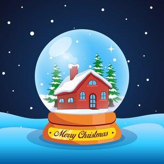 Ilustração de globo de neve mágica de natal com casa