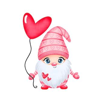 Ilustração de gnomo apaixonado do dia dos namorados fofo dos desenhos animados