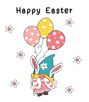 Ilustração de gnomo com orelhas de coelhinho da páscoa segurando balões de ovo