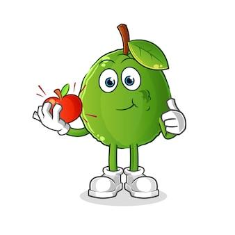Ilustração de goiaba comendo uma maçã. personagem