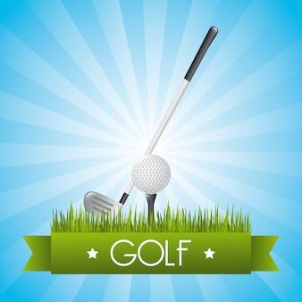 Ilustração de golfe sobre vetor de fundo azul