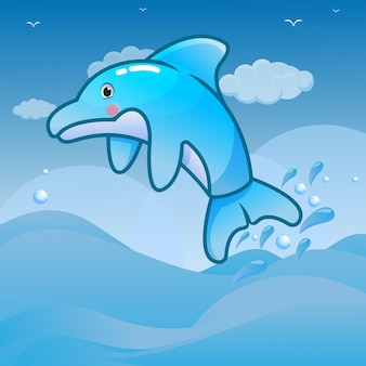 Ilustração de golfinho fofa no melhor mundo do mar