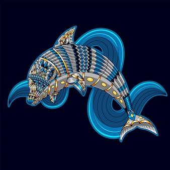 Ilustração de golfinho, mandala colorida zentangle