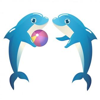 Ilustração de golfinhos brincando com uma bola
