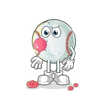 Ilustração de goma de mascar de beisebol
