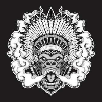 Ilustração de gorila de fumar