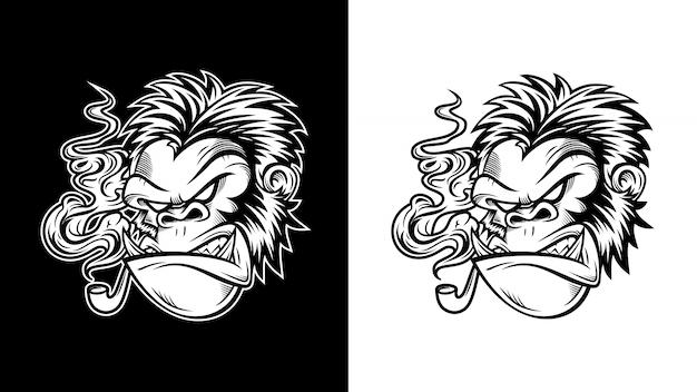 Ilustração de gorila furioso de óculos fumava