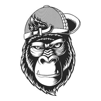 Ilustração de gorila usando chapéu