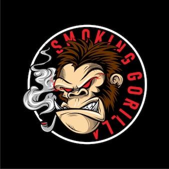 Ilustração de gorila zangado com olhos vermelhos estava fumando
