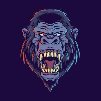Ilustração de gorila zangado