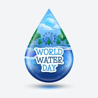 Ilustração de gota d'água no dia mundial da água