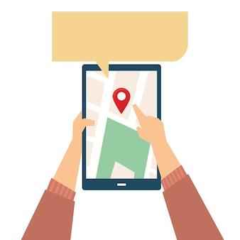 Ilustração de GPS informando a rota